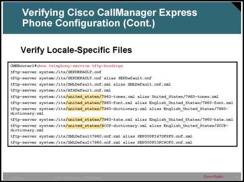 Verifying Cisco Call Manager Express Phone Configuration Cont - IP